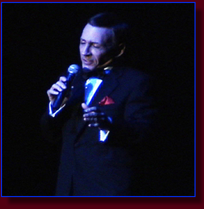 Monty Aidem portraying Frank Sinatra in concert.